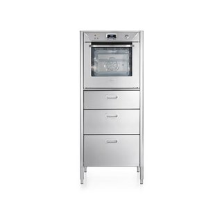 Column with a multifunction cold-door electric oven, three stainless steel drawers.